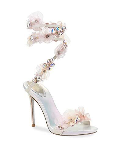 Rene Caovilla Women's Shoes Fabric Sandals with Embellished Flower appliqués.Stiletto Heel (37)