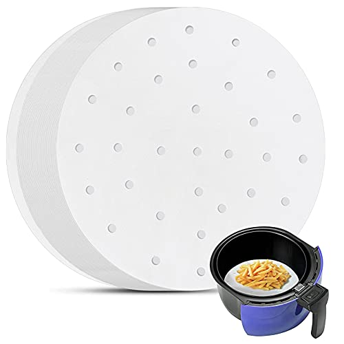 Air Fryer Perforated Paper, Set of 200, 8 inch Air Fryer Liners/Bamboo Steamer Paper/Perforated Parchment Paper for Air Fryer, Steaming Basket and More
