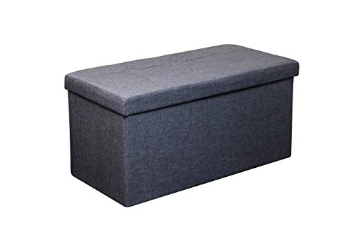 HomeHarmony Folding Storage Ottoman Seat, Stool, Toy Storage Box Linen Look (Grey Large)