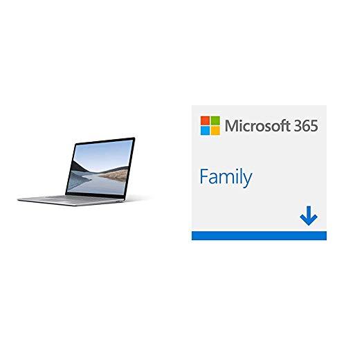 Microsoft Surface Laptop 3, 15 Zoll Laptop (AMD Ryzen 5 3580U, 8GB RAM, 256GB SSD, Win 10 Home) Platin + Microsoft 365 Home multilingual   6 Nutzer   1 Jahresabonnement   Download