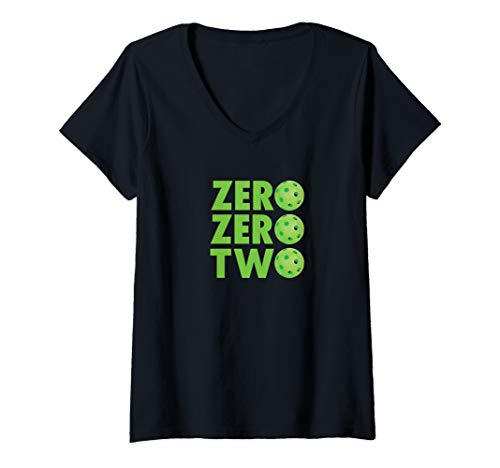 Womens Zero, Zero, Two - Cute Funny Pickleball Player Apparel V-Neck T-Shirt