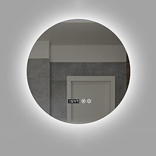 Espejo de Baño de Pared Redondo Iluminado con Led, Anti niebla, Espejo de pared con interruptor táctil, Diseño Moderno Ideal para Baño Dormitorio, 3 colores de luz: blanco cálido/neutral/blanco frío