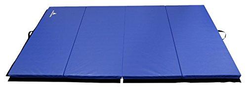 Alpha Mats Folding Gymnastics and Exercise Mat for Aerobics, Yoga, Martial Arts - 4 x 8 Feet, Blue