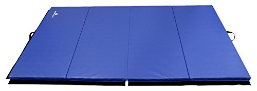 Alpha Mats Tri-Folding Gymnastics and Exercise Mat for Aerobics, Yoga, Martial Arts - 4 x 10 x 2 Feet, Blue