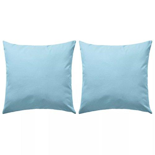 vidaXL 2x Oreillers d'Extérieur Coussin Décoratif de Jardin Oreiller Décoratif de Patio Coussin de Canapé Oreiller de Sofa 45x45 cm Bleu Clair