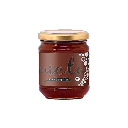 ERBOTECH MIELE di CASTAGNO in vasetto di vetro da 500 g, APICOLTURA ITALIANA. Non Pastorizzato e Non Filtrato, Puro e Naturale al 100%
