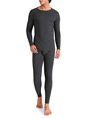 DAVID ARCHY Men's Ultra Soft Warm Stretchy Cotton Fleece Lined Base Layer Top & Bottom Thermal Set Long John with Fly (XL, Heather Dark Gray)