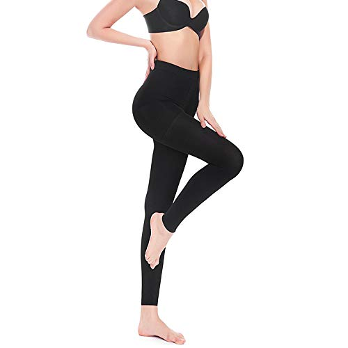 SWOLF Compression Pantyhose Women Men, 20-30 mmHg Graduated Firm Support Footless Compression Stockings - Rootless Waist High Edema Moderate Varicose Veins Medical Compression Tights (Black, Small)