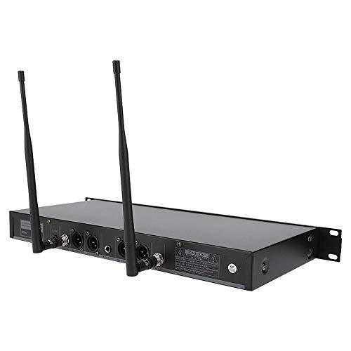 ASHATA4 UHF draadloze microfoonsysteem, 615,9~664,2 MHz vaste frequentie 1-4 draadloze microfoon professionele draadloze microfoon 100-240V, zwart