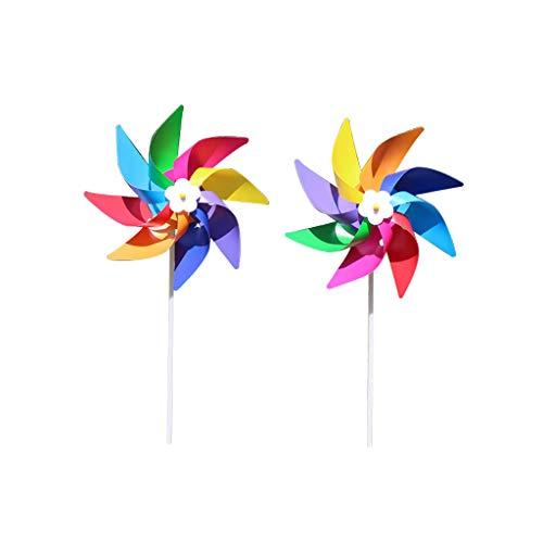 GROOMY Moulin à Vent, Moulin à Vent coloré en Plastique Moulin à Vent Spinner Enfants Jouet pelouse Jardin Cour décor de fête en Plein air à la Main-1