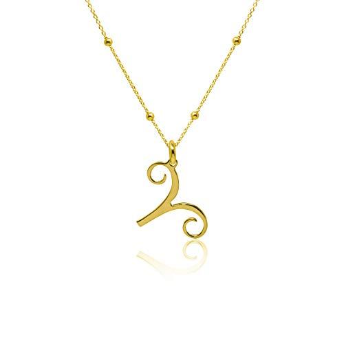 WANDA PLATA- Collar Símbolos del Zodíaco Colgante Aries para Mujer Plata de Ley 925 con Baño de Oro, Cadena de 45 cm + 5 Horóscopo, Astrología …