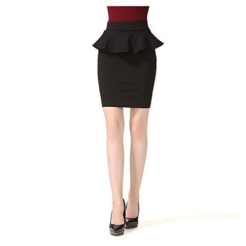 LNC-BSQ Nuovo Gruppo di Stili Femminili Skirtg della Natica del Sacchetto Diviso della Foglia di Lotus di Stile Femminile Elegante e dignificato (Color : Black, Size : XXL)