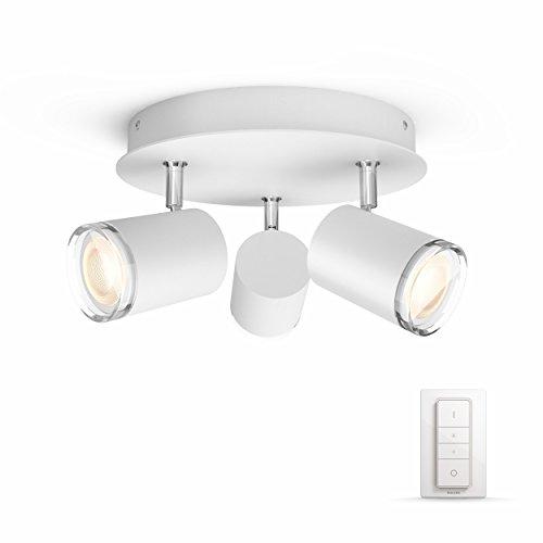 Philips Hue LED 3-er Spot Adore, rund, dimmbar, alle Weißschattierungen, steuerbar via App, kompatibel mit Amazon Alexa (Echo, Echo Dot), weiß