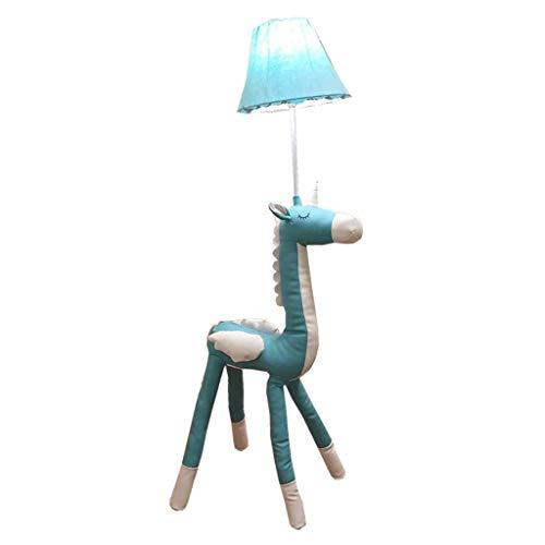 Eenvoudige karikatuur van kamers, blauwe eenhoorn, staande lamp voor kinderen, bescherming voor de ogen, moderne woonkamer, studio, verticaal lezen, tafellamp, meisjes