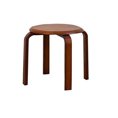 Kruk stapelbaar ronde kruk gebogen massief hout kleine bank stoel eettafel kruk wisselschoen bank lichte meubels (kleur: houtkleur) Walnut Color