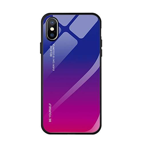 Hexcbay Custodia iPhone X/XR - Custodia in Vetro temperato 9H con Dorso Doppio - Custodia Protettiva AntiGraffio con Morbido paraurti in TPU per iPhone XS Max (iPhone XS Max, Rosso Porpora)