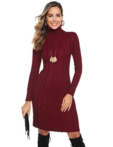 Hawiton Vestido de Punto para Mujer Vestido de Suéter de Cuello Alto de Manga Larga Vestido de Invierno de Punto con Cable Jerseys Largos