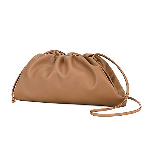 CATMICOO Cloud Crossbody Bags for Women Clutch Purse with Dumpling Shape and Ruched Detail (Khaki)