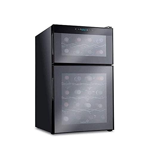 Tragbarer Kühlschrank Weinkühlschrank, 24 Flasche Duale Zone Weinkühler, freistehender Weinkühlschrank mit Doppelscheibe Anti BÜFFEL Strahlen / Frostschutz-Gla-Tür, hoher Effizienzkompressor, digitale