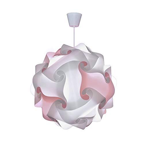 CREATIV LAMP - Suspension Luminaire - Lustre Chambre Prêt à Être Branché | Abat-Jour à Suspendre au Plafond| | Pour Décoration Salon, Chambre Enfants, Ado, Adultes - Ø34 cm - Mix Rose Pastel