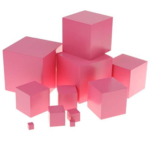 B Blesiya Cubo apilable rosa – Torre para apilar de 10 dados de madera – Juguete educativo Montessori para niños
