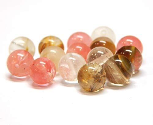 Tigerskin - Perlas de cristal de cuarzo de cerezo, piedras semipreciosas redondas de 4 mm, diseño de joyas, accesorios para manualidades, cadena de perlas, 25 unidades