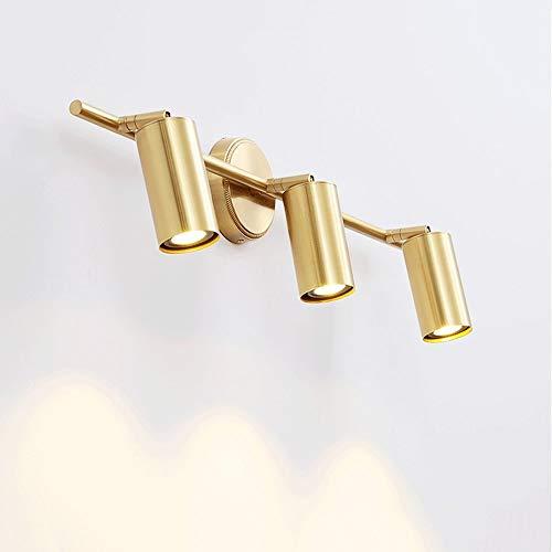 Lyuez Slaapkamer-kaptafel, led messing wandlamp, draaibare koplamp, goud, koper, dubbele koper, badkamerspiegel, koplamp