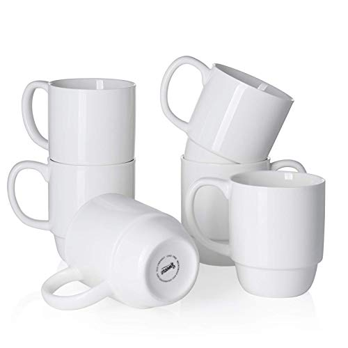 Sweese 605.001 Porcelain Stackable Mug Set - 16 Ounce for Coffee, Tea and Mulled Drinks - Set of 6, White