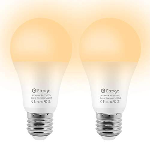 Etrogo Bombilla LED con Sensor Crepuscular E27 9W 2700K Blanco Cálido 800Lm Encendido/Apagado Automático para Pasillos Patio Garaje (Paquete de 2 Unidades)