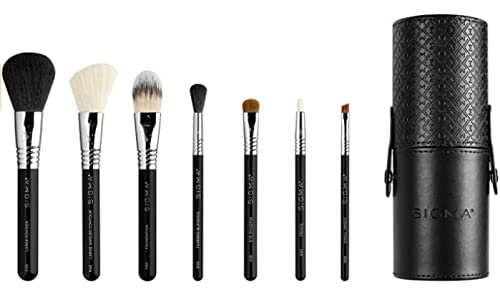 Sigma Beauty Essential Travel Brush Set, 7 Brushes, Brush Cup Included