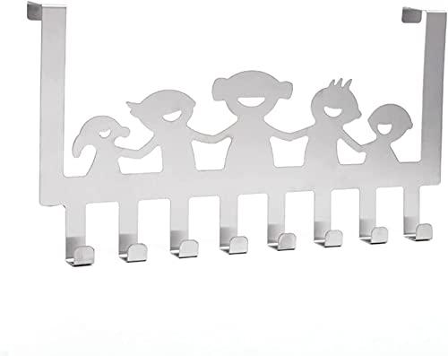MeMoreCool Gancio per porta con 8 ganci, in acciaio inox, senza foratura, per cucina, bagno, corridoio e camera da letto, 40 x 22,5 x 4,5 cm (argento)