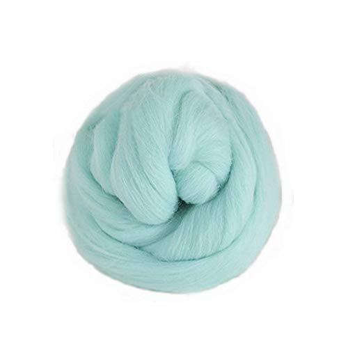 JUN - Hilo de fibra de lana de varios colores para macramé, para colgar en la pared, tapiz bohemio, manualidades, 100 g, color menta