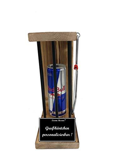 * Personalisierbar - Eiserne Reserve ® Black Edition mit einer Dose Red Bull 0,473L incl. Säge zum zersägen der Stäbe - Das ausgefallene originelle lustige Geschenk