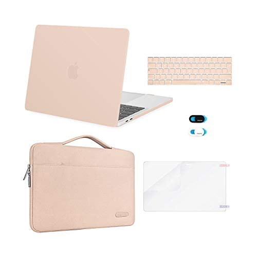 MOSISO Compatible with MacBook Pro 13 inch Case 2016-2020 Release A2338 M1 A2289 A2251 A2159 A1989 A1706 A1708, Plastic Hard Shell Case&Bag&Keyboard Skin&Webcam Cover&Screen Protector, Camel