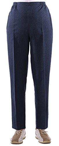 FASHION YOU WANT Damen Seniorenhose Schlupfhose mit Gummibund Kurzgröße Frühjahr/Sommer Qualität ideal für pflegebedürftige Omas einfach anzuziehen und super pflegelei (48/50, dunkelblau meliert)