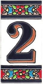 TORO DEL ORO Números casa. Numeros y Letras en azulejo Ceramica esmaltada, Pintados a Mano técnica Cuerda Seca. Nombres y direcciones. Diseño Flor Mediana 5,5x10,5 cm (Número dos '2')
