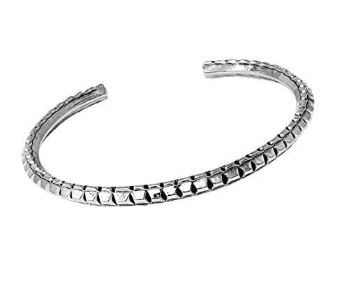 TreasureBay Delicate Cut and Groove 925 Sterling Silver Torque Cuff Bangle For Women