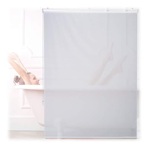 Relaxdays Duschrollo, 120x240 cm, Seilzugrollo für Dusche & Badewanne, Decke & Fenster, Badrollo wasserabweisend, weiß, 10034183_1047