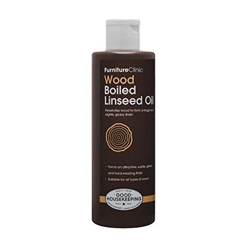 Furniture Clinic Boiled Linseed Oil for Wood | Natural Formula Wood Furniture Polish | Restore Finish on Indoor & Outdoor Wood, 8.5 oz/250ml