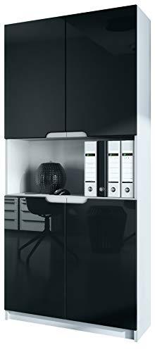 Vladon Büroschrank Aktenschrank Büromöbel Logan V2, Korpus in Weiß matt/Fronten in Schwarz Hochglanz