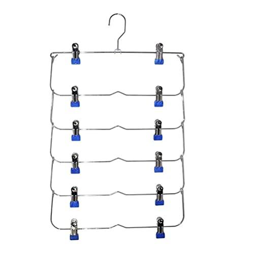 YSWG Percha de Abrigo, Perchas de Ropa 6 Capas Espacio Ahorro Pantalones Faldas Organizador Antideslizante Plegable Acero Armario Soporte guardarropa con Clips Home Multifunction Rack (Color : Blue)