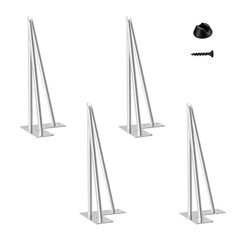 Haarnadel Tischbein 4x Hairpin Leg Möbelbein Haarnadelbeine aus Metall Tischzubehör DIY für Esstisch Couchtisch Schreibtisch (30cm-10mm - Table Basse, Chrom)