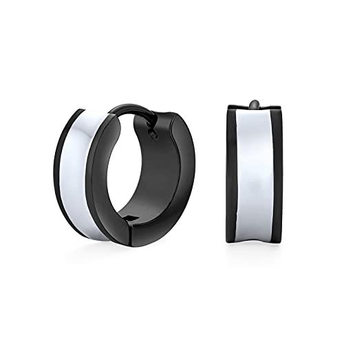 Unisex two tone striped silver enamel cóncavo Huggie pequeños pendientes de aro para hombres o mujeres negro acero inoxidable .50'Dia