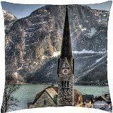 Lsjuee Wonderful Church in hallstatt Austria HDR - Throw Pillow Cover Cover (18