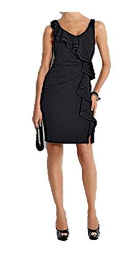 Heine Damen-Kleid Etuikleid mit Volants Schwarz Größe 38