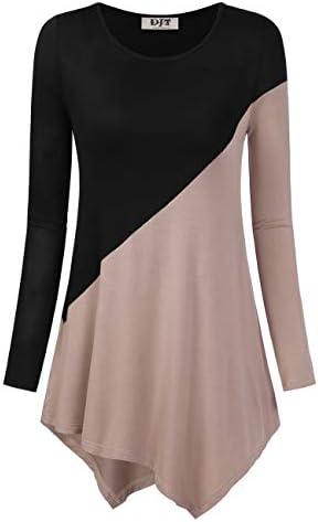 DJT Women s Color Block Long Sleeve T Shirts Tunic Tops XXL Khaki product image