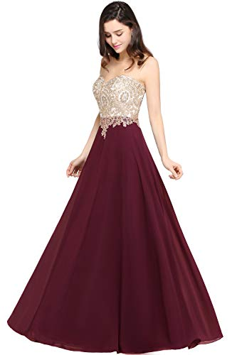 MisShow Gold Lace Applique Prom Long Dress for Women Cocktail Maxi Burgundy US12