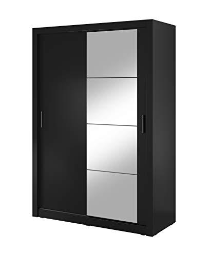 Reboz Kleiderschrank Schrank ARTO 04 mit Spiegel 150 cm (Schwarz)