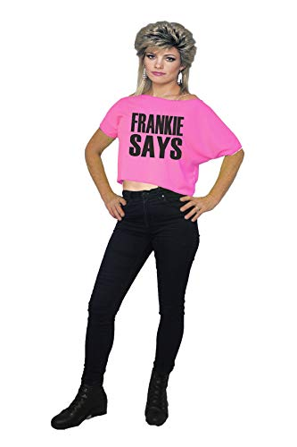 Ladies Neon Pink Frankie Says Cropped T-shirt - S to XXL