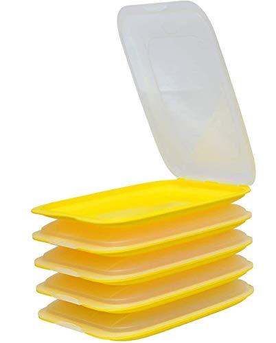 Design 5 scatole per salsicce, contenitori salvafreschezza, impilabili, di colore giallo, adatte per salumi e formaggi e molto altro ancora, dimensioni 25 x 17 x 3,3 cm.